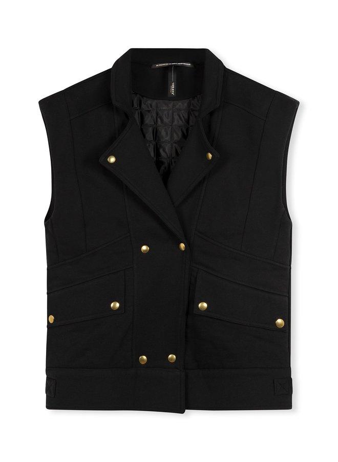 Gilet  fleece biker vest black