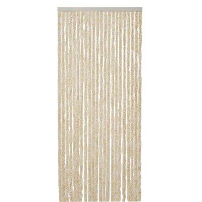 Flauschvorhang Beige - Weiß Mix