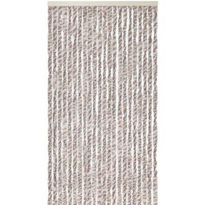Flauschvorhang Grau - Braun - Weiß Mix