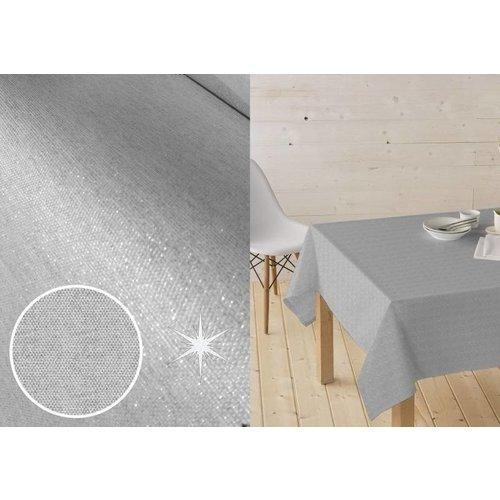 Tischdecke Abwaschbar Lurex Silber