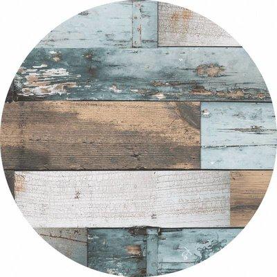 Wachstuch Rund Holz Blau 160CM