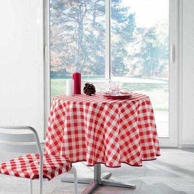 Tischdecke Rund Rot Weiß Kariert 180CM
