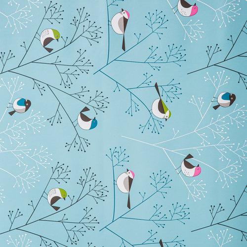 Beschichtete Tischdecke Vogel Blau