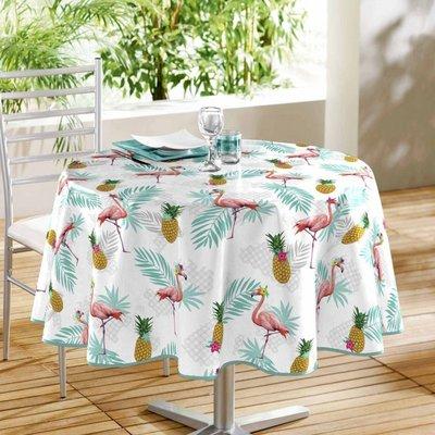 Tischdecke Kunststoff Rund Flamingo und Ananas 160CM