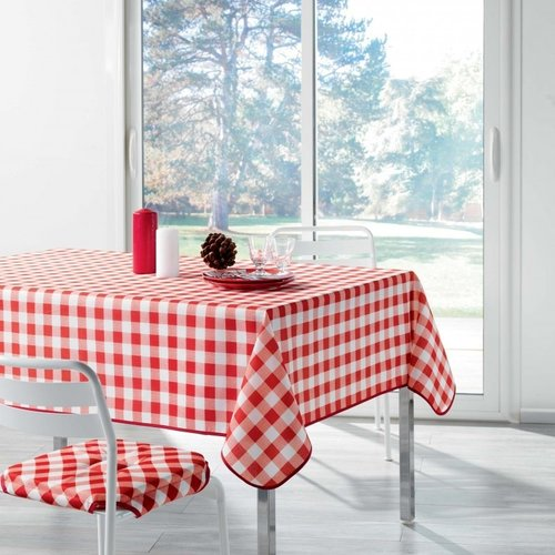Tischdecke Vicy Rot Weiß Kariert 150x300 CM