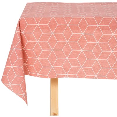 Tischdecke Cotton Coated Isometric Rosa