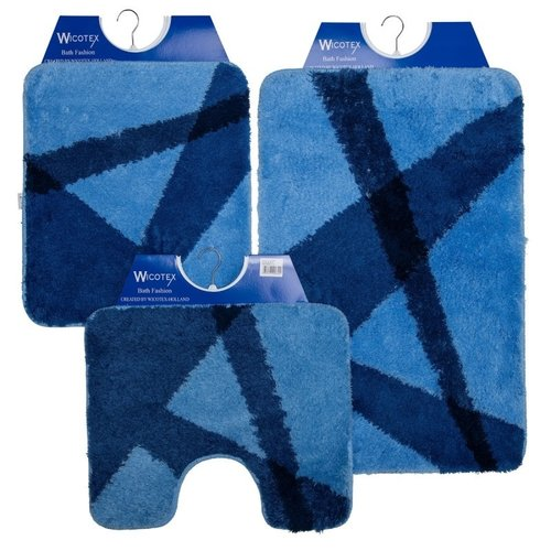 Badematte - Toilettenmatte- Bidetmatte Blau Gestreift