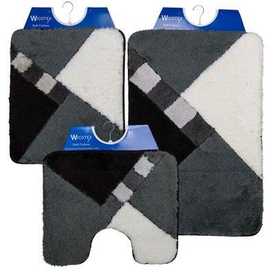 Badematte - Toilettenmatte- Bidetmatte Grau - Schwarz - Weiß Kariert