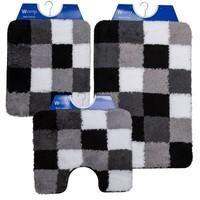 Badematte - Toilettenmatte- Bidetmatte Schwarz - Grau - Weiß Kariert
