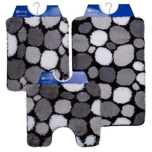 Badematte - Toilettenmatte- Bidetmatte Schwarz - Grau - Weiß Steine