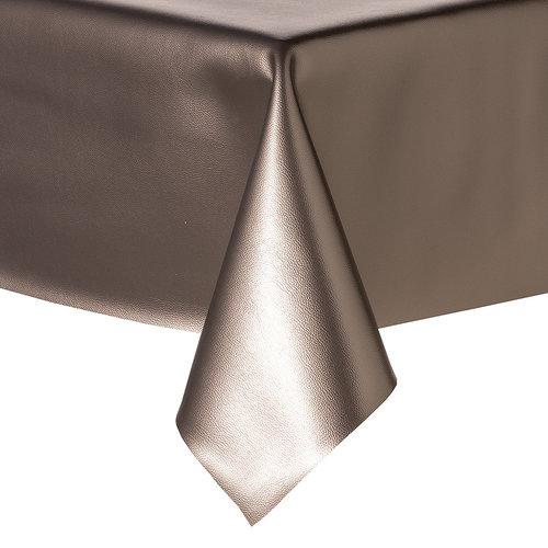 Tischdecke Kunstleder Metallic Silber 140 CM