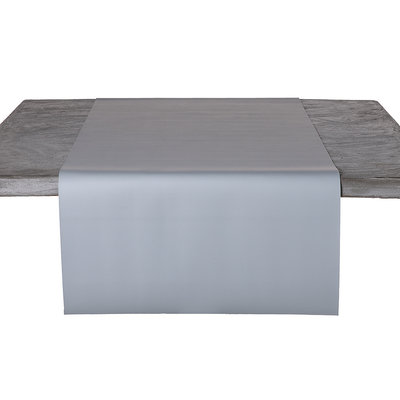 Tischläufer Kunstleder Grau 45 x 140 CM
