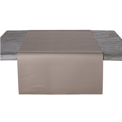 Tischläufer Kunstleder Taupe 45 x 140 CM