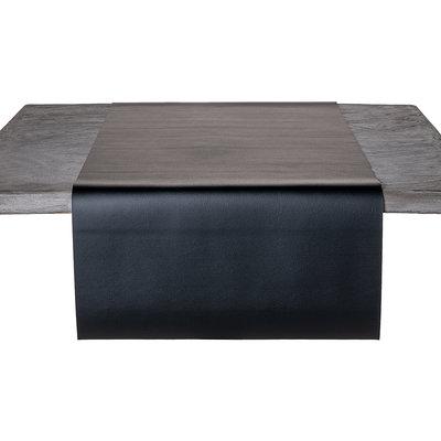 Tischläufer Kunstleder Schwarz 45 x 140 CM