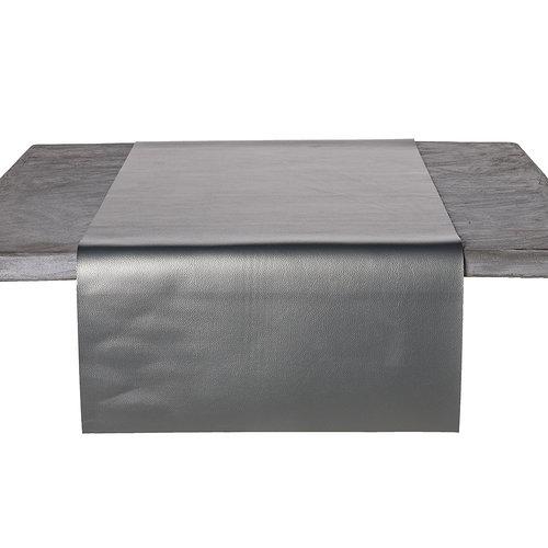 Tischläufer Kunstleder Metallic Silber 45 x 140 CM