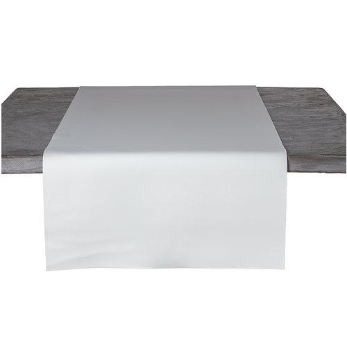 Tischläufer Kunstleder Weiß 45 x 140 CM