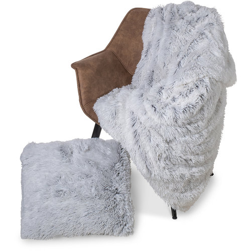 Kuscheldecke Kunstfell Weiß  - Grau 150x200 CM