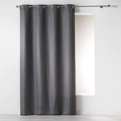 Vorhang ringe Jacquard-Polyester Grau 140 x 260 cm