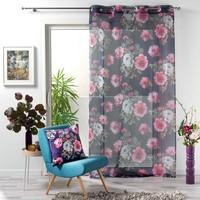 Superdekoshop.de Vorhang Vitrage Blumen Grau 140 x 240 cm