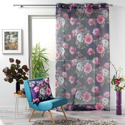 Vorhang Vitrage Blumen Grau 140 x 240 cm