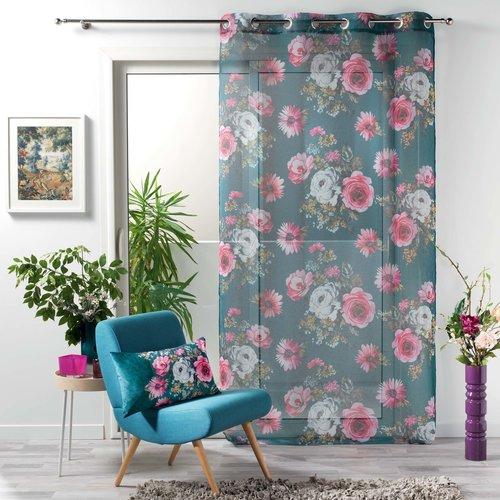 Superdekoshop.de Vorhang Vitrage Blumen Grün 140 x 240 cm