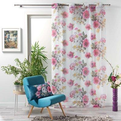 Vorhang Vitrage Blumen Violett 140 x 240 cm