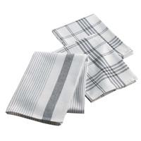 Geschirrtücher Weiß Grau 3 Stück