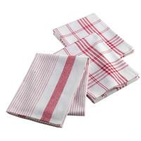Geschirrtücher Weiß Rot 3 Stück