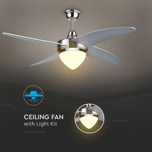 Deckenventilator mit Lampe Stahl 60W 3 Lichtfarben inkl. Fernbedienung