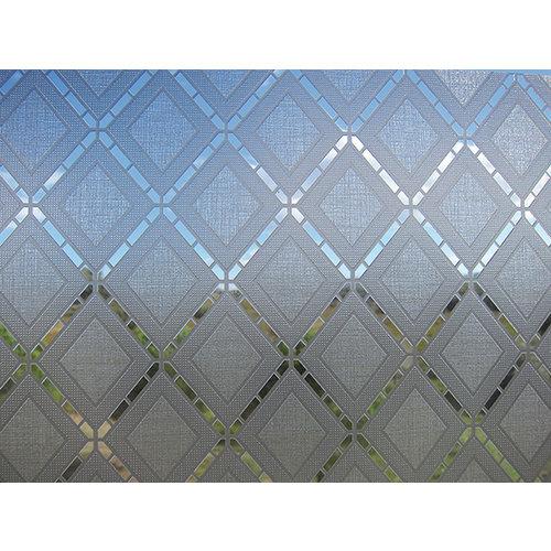 Fensterfolie statisch gegen Betrachtung Textil Rhombus grau 46cm x 1,5m