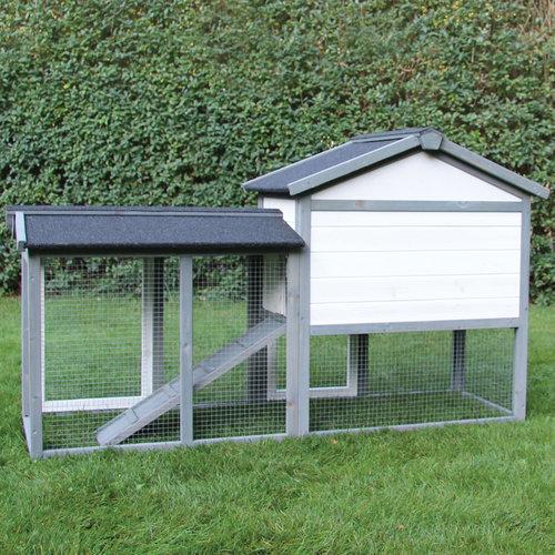 Kaninchenstall Klopfer grau/weiß