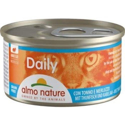 Almo Nature Almo Nature Kat Daily Menu Natvoer - Mousse met Tonijn en Kabeljauw 85g
