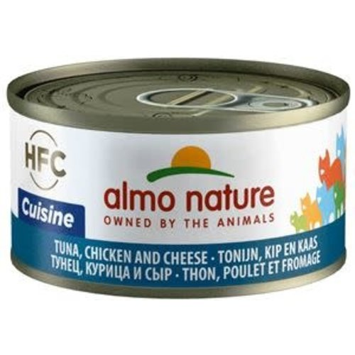 Almo Nature Almo Nature Kat HFC Natvoer  Natural  Tonijn, Kip en Kaas 70g