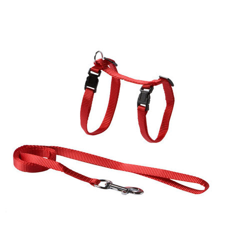 Adori Kattentuigje+looplijn nylon M rood a21-35 b27-45 110x1 cm