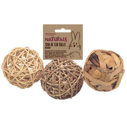 Naturals Naturals knaagspeeltje speelballen 3 stuks Medium 8 cm