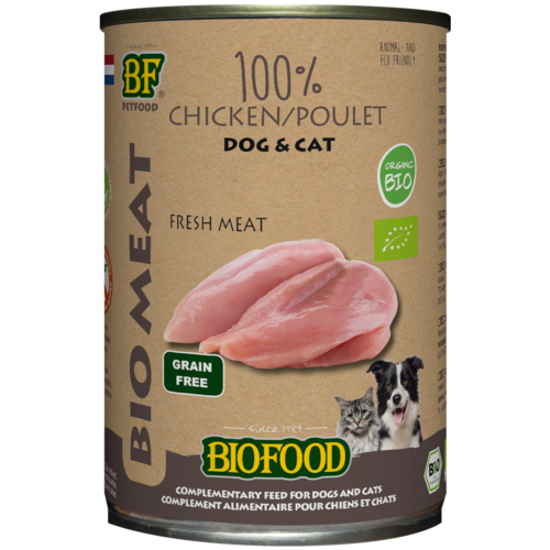 Biofood Biofood Organic 100% kippenvlees 400 g blik