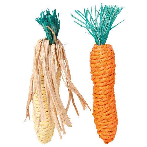 Trixie Knaagspeeltje strotouw wortel en maïskolf 38 g 2 stuks