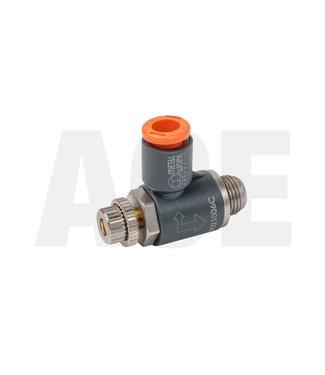 """Snelheidsregelventiel haaks 1/8"""" x 6mm voor Peco cilinders"""