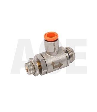 """Snelheidsregelventiel haaks 3/8"""" x 8mm voor DN63 cilinders"""