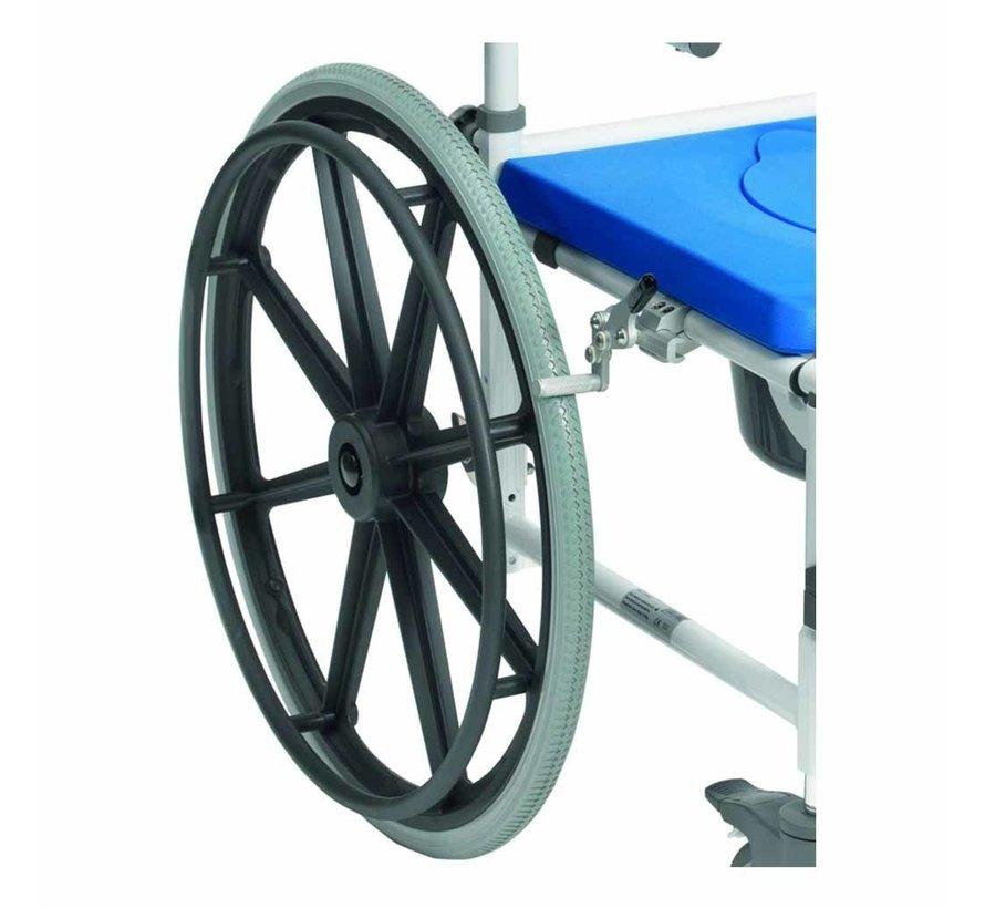 """Verrijdbare Toiletstoel / Douchestoel Aston met 24"""" wielen"""