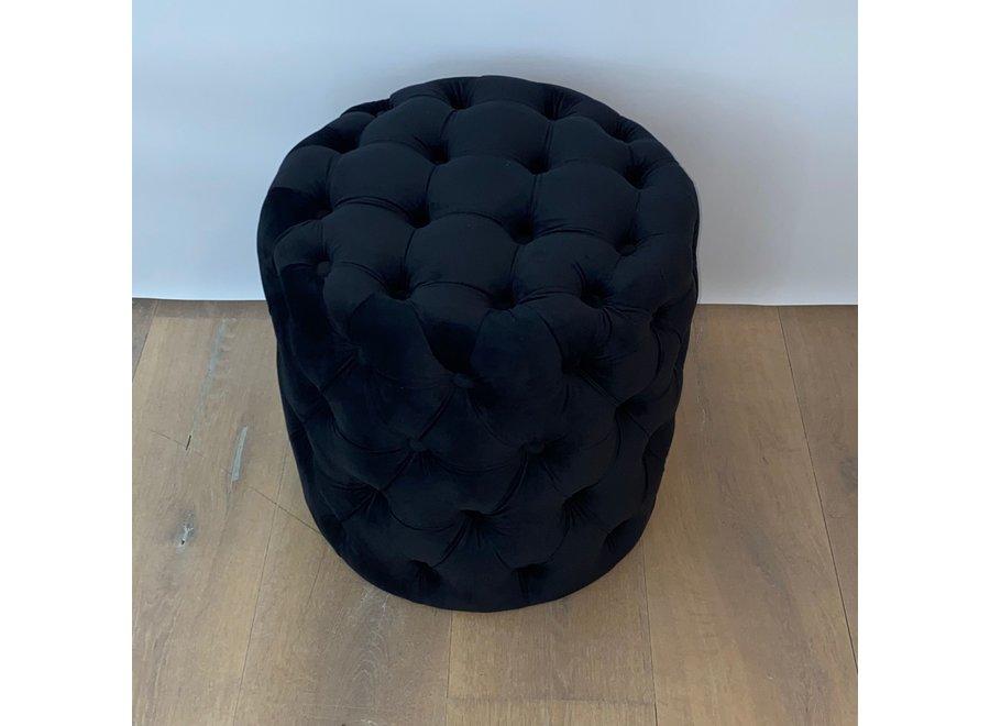 Stool velvet - black