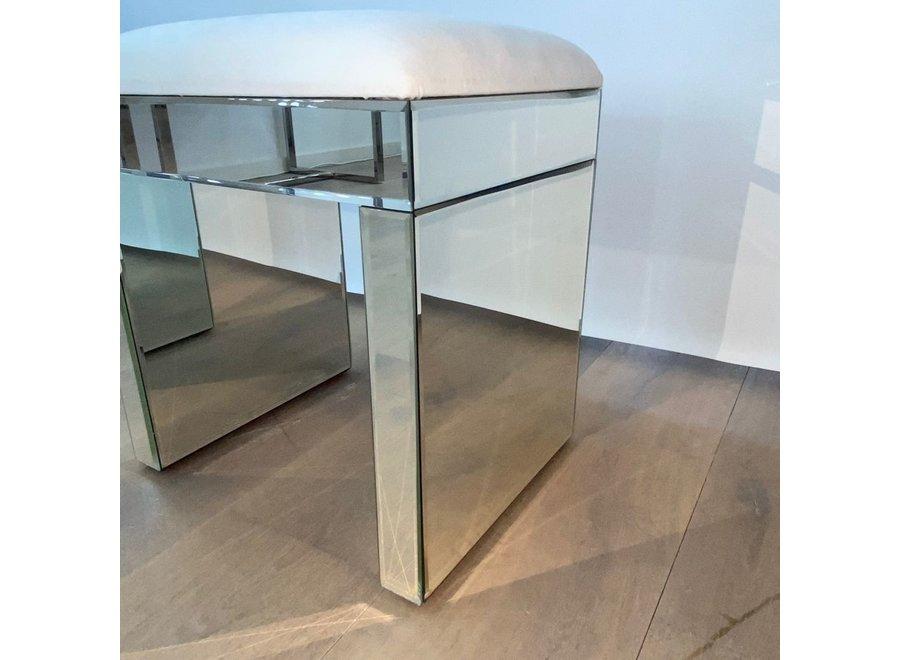 Stool velvet - white - glass