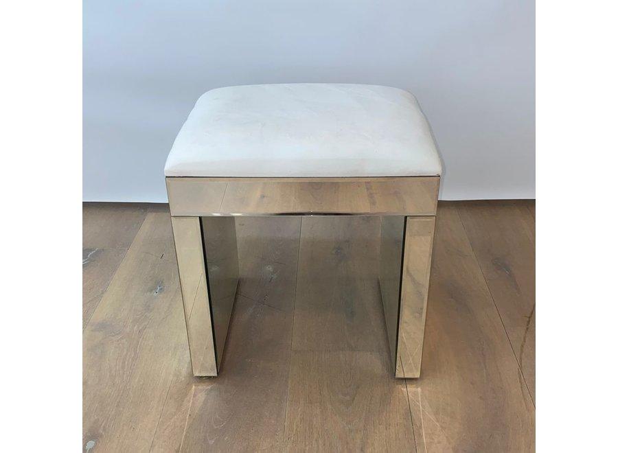 Taburete terciopelo - blanco - vidrio