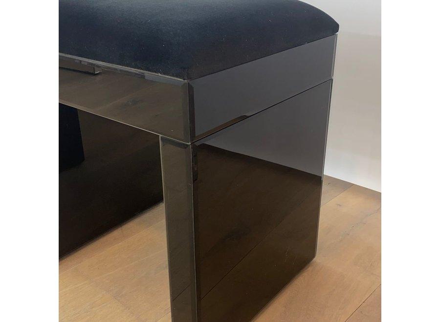 Stool velvet - black - glass