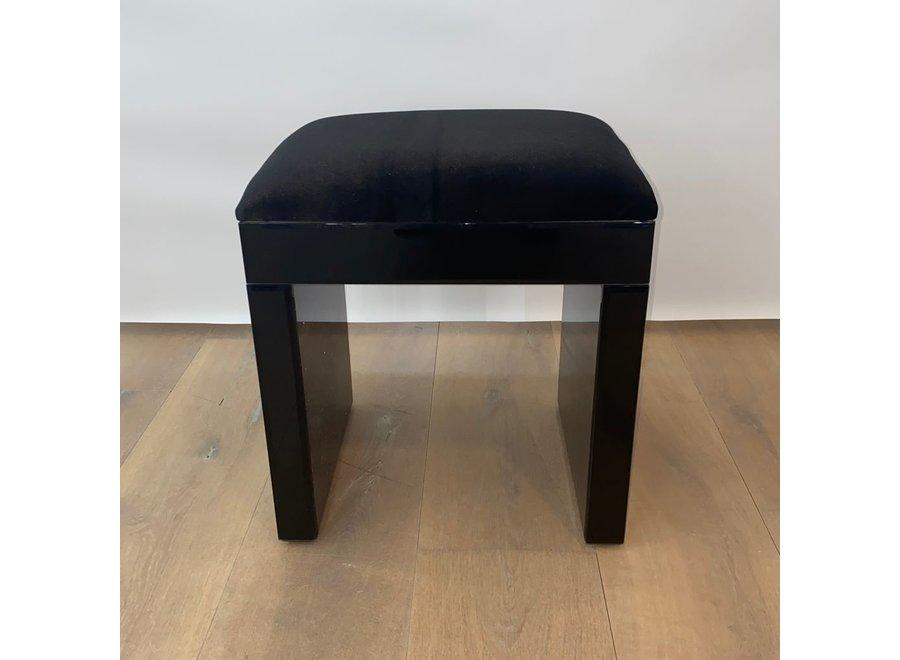 Taburete terciopelo - negro - vidrio