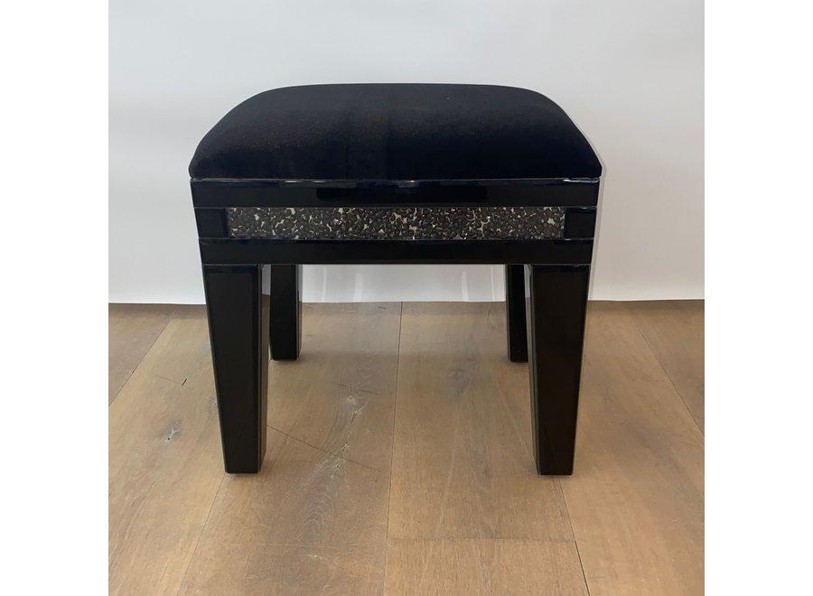 Stool velvet - black - glass - diamond