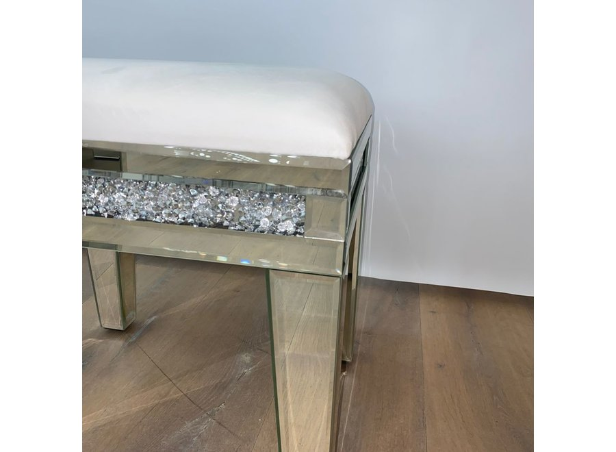 Taburete terciopelo - blanco - vidrio - diamond