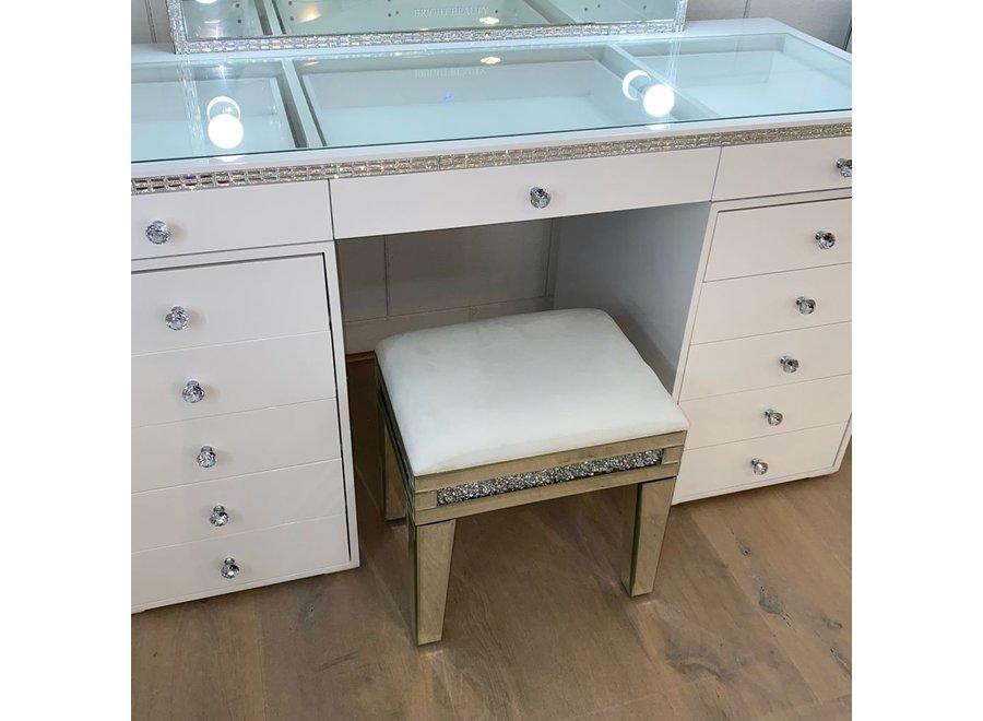 Stool velvet - white - glass - diamond