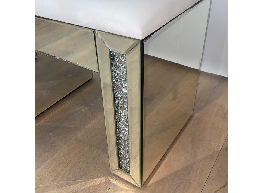 Hocker samt - weiß - glas - diamond - XL