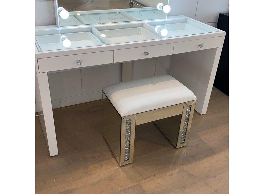 Stool velvet - white - glass - diamond - XL
